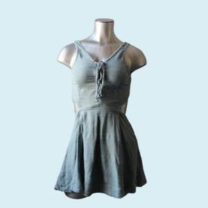 Free People Blue Linen Tie Back Button Apron Dress